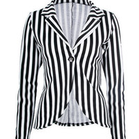 Black Stripe Print Blazer - Clothing - desireclothing.co.uk