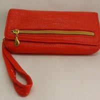 Red Flap Wristlet, Faux Leather, Syntetic Leather