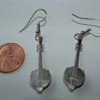 Banjo Earrings - silver-plated charms on surgical steel earwires - dangle
