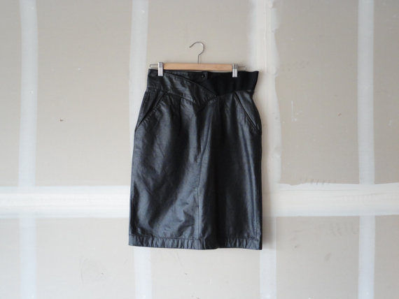 vintage pencil skirt 80 skirt leather pencil skirt