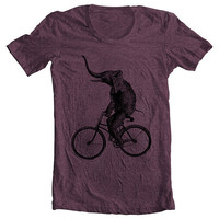 Unisex - Men&#x27;s Women&#x27;s T shirt - ELEPHANT RIDING a BIKE Fashion American Apparel Tshirt Tee - Plum (9 Colors) Sizes xs, s, m, l, xl (cts)