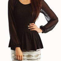 chiffon-contrast-peplum-top BLACK BLUSH MOCHA - GoJane.com
