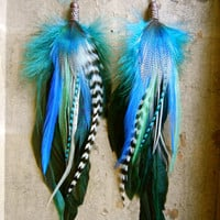 Lunar Eclipse Extra Long Feather Earrings