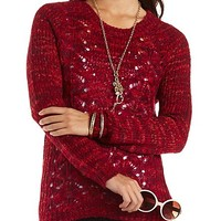 Marled Cable Knit Pullover Tunic Sweater - Red Combo