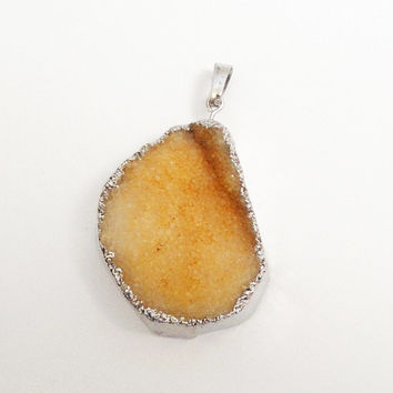 Drusy Jewelry,  Orange Crystal Agate Drusy Pendant Dipped in Silver, Drussy Druzzy Jewelry, Select With Or Without Chain