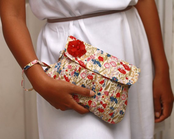 Summer Clutch Purse Field of Flower Red and Blue