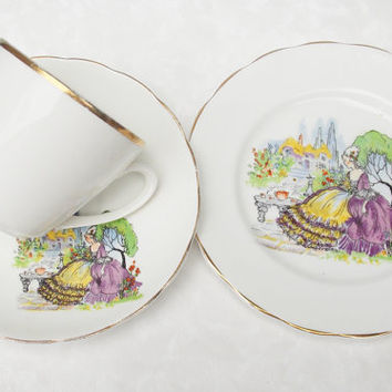 Mismatched Teacup Trio, Teacup Trio, Teacup Saucer and Side Plate, Tea Trio Set, Crinoline Lady - 1950s / 1970s