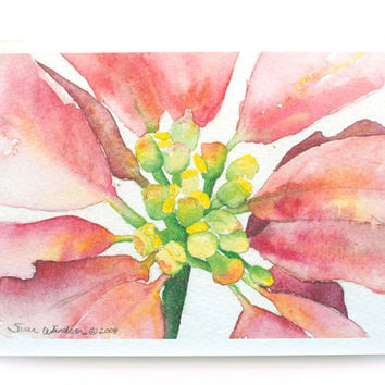 Watercolor Christmas Poinsettia - Christmas Card - Watercolor Floral