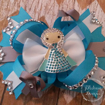 Frozen Elsa Inspired Stacked Bow with Rhinestones - Birthday Bow