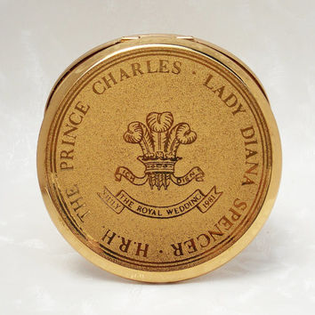 Powder Compact, Stratton Powder Compact, Mirror Compact, Royal Wedding, Prince Charles and Princess Diana, Commemorative - 1980s