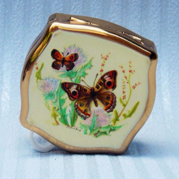 Pill Box, Stratton Pill Box, Stratton Mini Box, Stratton, Vintage Pill Box, Butterfly, Butterflies - 1960s /1970s
