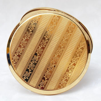 Powder Compact, Stratton Powder Compact, Stratton Mirror, Mirror Compact, Gold Compact, Compact Mirror, Gold - 1980s