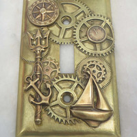 Steampunk Nautical Light Switch Plate made to order