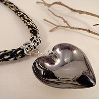 Black Gold And Silver Kumihimo Necklace, Murano Glass Heart Pendant, Gold & Silver Woven Cord, Hematite Czech Glass, Crystal, Silver, OOAK