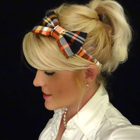 Halloween/harvest plaid bow stretch headband pinup/feminine/holiday