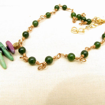 Green Ruby Wire Wrapped Necklace Ruby Zoisite Pendant Jade Necklace Handmade Jewelry