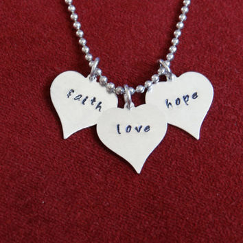 Faith Love Hope Hand stamped necklace (other pieces can be customized/personalized)