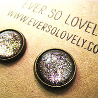 gold dust and pink lavender summer nights and starry skies - handmade sparkly metallic nickel free post earrings