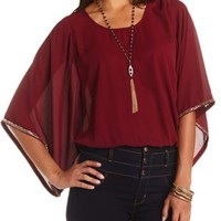 Beaded Kimono Sleeve Top by Charlotte Russe - Bright Pink