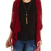 Cage-Back Chiffon Cascade Kimono Top by Charlotte Russe - Oxblood