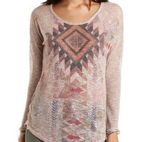 Rhinestone Aztec Graphic Top by Charlotte Russe - Blush Combo
