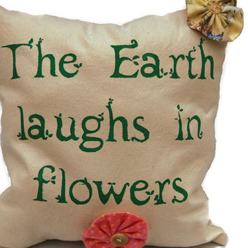The Earth Laughs in Flowers Decorative Throw Pillow, Cotton Canvas Pillow, Colorful Pillow, Stenciled Pillow,Decorative Pillow,Accent Pillow