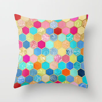 Patterned Honeycomb Patchwork in Jewel Colors Throw Pillow by micklyn