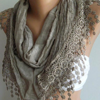 Stone Color / Elegant  Shawl / Scarf..