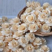 SALE -150 Pcs -Birch Wood Shavings Crafted Flowers - Natural