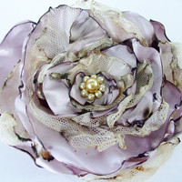 Tea Stained Lavender Flower Accessory, Hair Clip or Brooch, Bridal Sash, Wedding