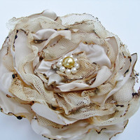 Beige Flower Accessory, Hair Clip or Brooch, Wedding, Bridal Sash