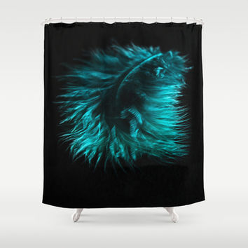 Feather in green-turquoise Shower Curtain by VanessaGF