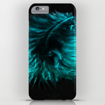 Feather in green-turquoise iPhone & iPod Case by VanessaGF | Society6