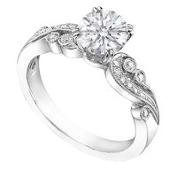 Engagement Ring - Vintage Design Engagement Ring Swirl Pave Round Diamonds 0.15 tcw in 14K White Gold, - ES768WG
