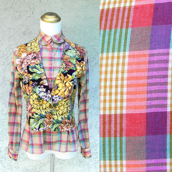 Plaid Womens Shirt - Vintage 80s Vibrant Rainbow Plaid Blouse w Ruffled Peter Pan Collar and Ruffle Cuffs - Long Sleeve Top - Small S XS