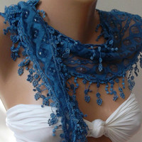 Ocean Blue  / Elegance  Shawl / Scarf.... with Lacy Edge.