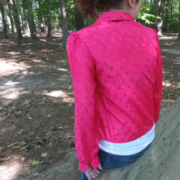 "1980s Hot Pink Blouse by So What! of CA Neon Color / 35"" Bust Medium Size / Women's Shirt Made in the USA"
