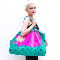 VINTAGE 80s // 90s Flintstones Weekender Bag - Novelty Kitsch Canvas Oversized Duffle Bag