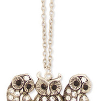 Silver Metal Rhinestone Trio Of Owls Pendant Necklace - Unique Vintage - Bridesmaid & Wedding Dresses