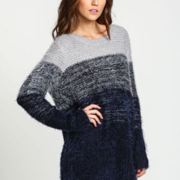 Ombre Boyfriend Furry Sweater - LoveCulture