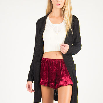 Open Knit Double Pocket Cardigan - Black - Black /