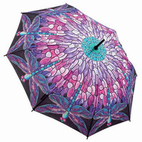 Colorful Stain Glass Dragonfly Umbrella - Unique Vintage - Bridesmaid & Wedding Dresses