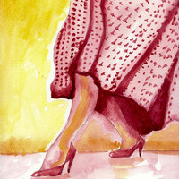Rockabilly Retro Legs Watercolor Painting 10x10