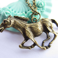 necklace---antique bronze horse pendant,alloy chain