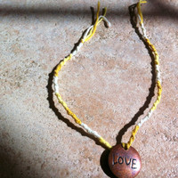 Handmade Yellow Chinese Staircase Anklet with Love Charm