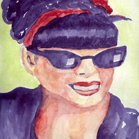 Rockabilly Mama Watercolor Portrait Painting 9x12