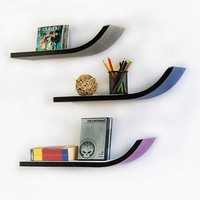 WeeK Four Stylish J Type Leather Wall Shelf / Bookshelf / Floating Shelf (Set of 3) TRI-WS105-SAM