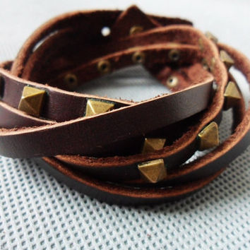 High Fashion Adjustable hand-made brown real soft Leather stainless steel rivet wrist cuff bracelet  203S