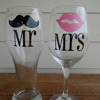 Mr &amp; Mrs Moustache and Lips Pilsner and Wine Glass - Wedding Gift - Shower Gift - Housewarming