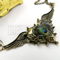 STEAMPUNK necklace - Victorian Bronze Winged heart pendant with encased acrylic gem - Neo Classical baubles and Jewelry